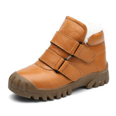 Boys Leather Hook Loop Warm Boots