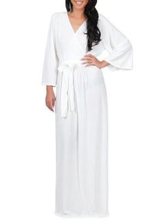 Solid Color Long Sleeve V-neck Maxi Dress -US$31.45