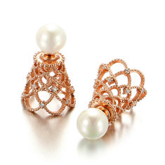 JASSY® Crown Pearls Rose Gold Earrings-US$27.71
