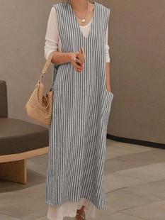 Sleeveless Stripe Casual Vest Dress -US$21.99