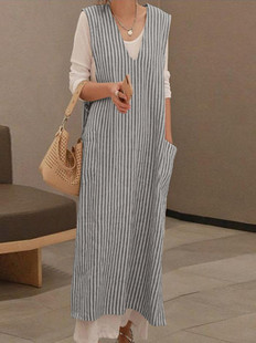 Sleeveless Stripe Casual Vest Dress -US$21.99