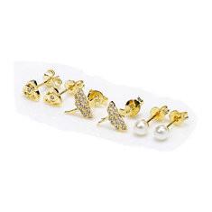 JASSY® 925 Silver Gold Stud Earrings-US$27.71