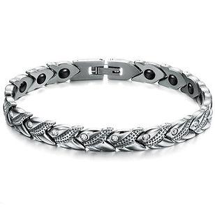 Health Unisex Bracelet Rhinestone Stainless Steel Magnetic Germanium Bracelet - RM84.32
