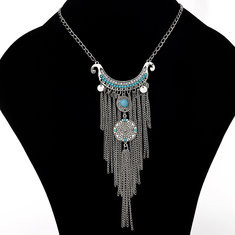 Necklace Turquoise Geometric Chains Tassels Pendant -RM41.15