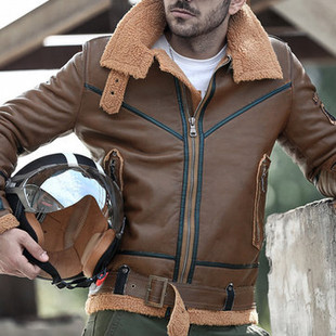 Motorcycle PU Leather Warm Shearling Coat -US$69.88