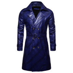 Men Lapel Collar Leather Coat-US$52.47