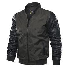 Multi-Pockets Stitching Color Patchwork Jacket For Men-US$42.56