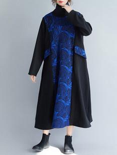 Print Patchwork Turtleneck Dress -US$59.99