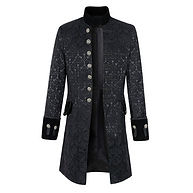 Mens  Clothing Jacquard Mid Long Single-breasted Stand Collar Fall Winter Trench Coat -RM129.35