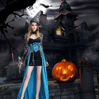 Halloween Sexy Long Sleeve Dress For Women -US$41.84