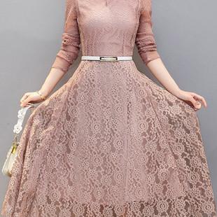 Floral Lace Long Sleeve Elegant Lace Dress -US$34.50