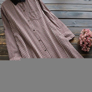 RM148.72 -Vintage Striped Long Blouse
