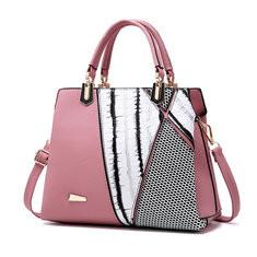 Women Vintage Stitching Color Tote Bag Designer Handbag-RM123.09