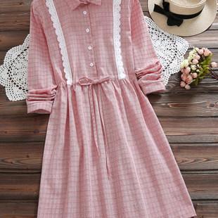 Plaid Patchwork Lace Dresses -US$29.40