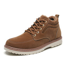 Men Slip Resistant Warm Casual Leather Boots-RM92.17