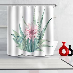 Plants Cactus Print Waterproof Shower Curtain -US$19.80