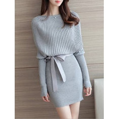 Knitted Long Sleeved Slash Neck Bodycon Dress-RM109.57