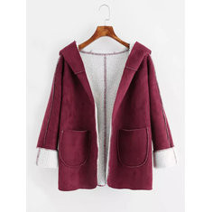 Fleece Solid Color Hooded Coat-RM180.39