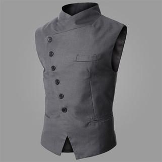 Business Tilt Buckle Sleeveless Casual Vest-US$24.26