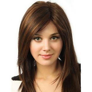 Synthetic Streak Dark Brown Blonde Wig -US$39.24