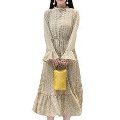 Pleated Ruffles Long Sleeve Printed Dress-RM127.19