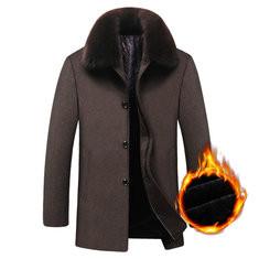 Woolen Thickened Fur Collar Trench Coat-US$77.04
