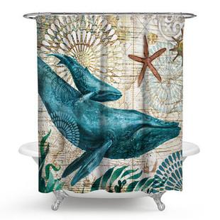Sea Turtle Octopus Waterproof Shower Curtai-US$24.90