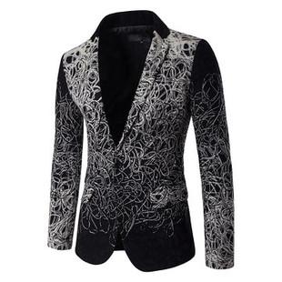 Mens Casual Long Sleeve Design Slim Blazer -US$59.23
