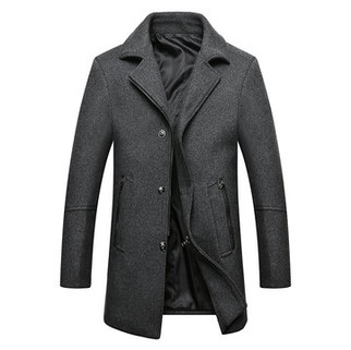 RM228.21-Mens Lapel Collar Casual Busness Trench Coat
