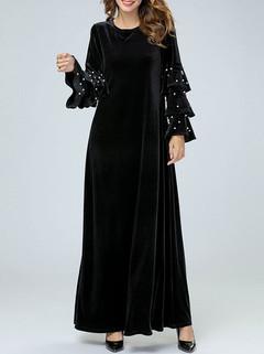 Velvet Dot Long Sleeve Black Muslim Dress -US$58.00