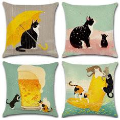 """45cm/18"""" Cartton Black Car Cotton Linen Cushion Cover""-RM5.35"