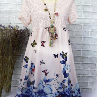 Printed Patchwork Short Sleeve Lace Dresses -US$17.50