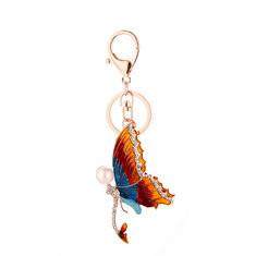 Pearl Rhinestone Butterfly Keychain-US$10.88