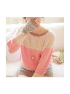 Pullover Knitwear Heart Pattern Stitching Loos-RM77.69