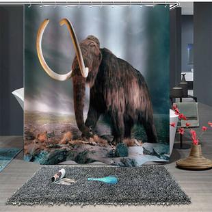Elephant Cartoon Bathroom Shower Curtains -US$19.90