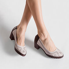 Women Shoes Hollow Out Color Match Chunky Heel Casual Pumps - RM141.94