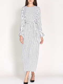 Striped Long Sleeve A Line With Belt Maxi Dress -US$36.55