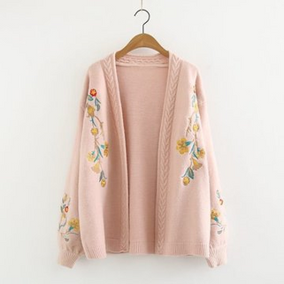 Floral Embroidered Long Sleeve Sweater Cardi-RM162.36