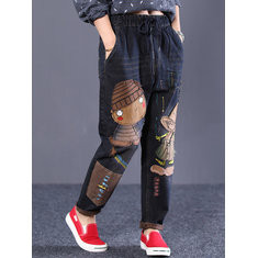 Cartoon Embroidered Vintage Denim-RM296.3