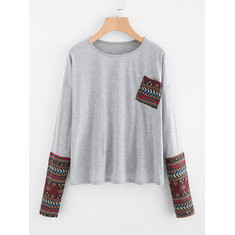 Printed Stitching Long Sleeve Cotton Blouse-RM87.66
