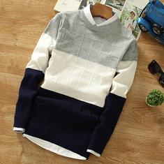 Plaid Patchwork Slim Fit Sweater -US$18.85