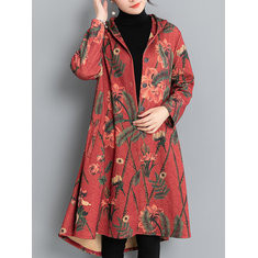 Print Hooded Trench Coat-RM 225.34