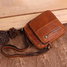 Men Vintage Genuine Leather Solid Crossbody Bag Shoulder Bag-US$62.53
