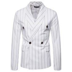 Mens Stitching Striped Long Sleeve Suit-US$49.34