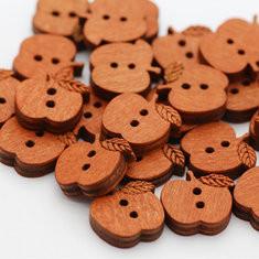 100 Pcs Apple Shape Wooden Buttons -RM5.88