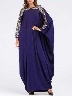Bat Sleeve Robe Blue Muslim Dress -US$43.80