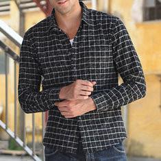 Casual Plaid Turn Down Collar Long Sleeve Shirt-US$19.44