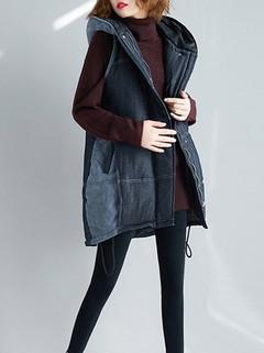 Women's Vest Patchwork Zipper Pocket Jacket -RM209.71