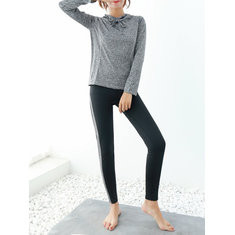 Hooded Long Sleeved Shirt And Patchwork Pants Tracksuit-RM113.35