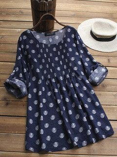 Polka Dot Print Pleated Blouses-RM68.39